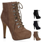 Gefütterte Damen Stiletto Stiefeletten Schnürboots High Heels 72952 New Look