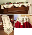 Collections Etc Holiday Hollyberry Embroidered Table Linens