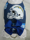 DOG CAT FERRET Harness~NFL San Diego Team CHARGERS Cheerleader BLUE Bow & Lace