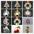 10PCS Vintage Style Christmas Series Enamel Tree Sock Donuts Gift Bell Pendant