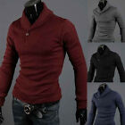 HOT Mens Comfort Turtle Polo Neck Slim Fit Cardigan Sweater Pullover Shirts Tops