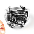 Mens 316L Stainless Steel Eagle Hawk Finger Ring Punk Cool us9-us12 Hot Gift