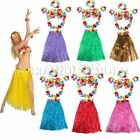 6Pcs Hawaiian Luau Garland Headband Wristband Party Hula Skirt Dress Grass 60cm