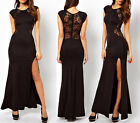 Sexy Ladies Lace Bodycon See-Through Cocktail Split Cut Out Long Maxi Dress