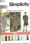 S-7243 Sewing Pattern Uncut Misses Princess Seamed A-Line Dress 9 Designs