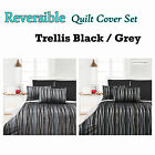 3 Pce TRELLIS - Fully Reversible Jacquard Quilt Cover Set - QUEEN KING