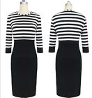 Women Pinup Striped Colorblock Tunic Wear to Work New Sheath Pencil Dress CAWB