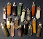 "Silver Capped Gemstone Crystal Point Pendants Mix! Up to 20pc Bulk Lots! 1""+"