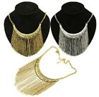 Retro Gold Silver Metal Clear Rhinestone Geometry Long Tassel Chain Necklace