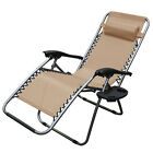 2 Zero Gravity Chair Recliner Utility Tray Pool Beach Aqua Brown Tan Navy Blue cheap