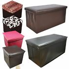 FAUX LEATHER FOLDING OTTOMAN POUFFE SEAT FOOT STOOL STORAGE BOX