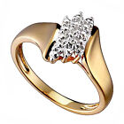 14k Gold Plated Brass Diamond Accent Cluster Women's Wedding Ring