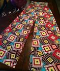 """FOLD OVER """" RAPID MOTION """" MULTI RED BLACK CARIBBEAN SQUARES PALAZZO PANTS S M L"""