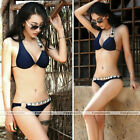 Sexy Women Crystal Rhinestone Padded Halter Bathing Swimwear Swimsuit Bikini Set