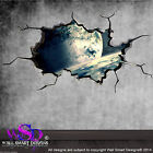 SPACE PLANETS UNIVERSE WORLD CRACKED 3D - WALL ART STICKER BOYS DECAL MURAL 3