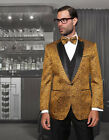 MENS GOLD 3 PIECE 1 BUTTON MODERN FIT EVENING SUIT JACQUARD PATTERN BOW TIE