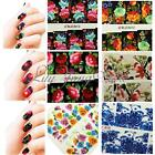 French Nail Art Wraps Water Transfers Stickers Decals Scribble Flowers Style DIY