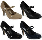 NEW WOMENS LADIES BLACK CASUAL WORK OFFICE COURT SHOES HEEL STILETTO SIZES 3-8
