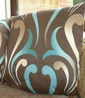 "1 16"" CUSHION COVERS-brown duckegg teal blue swirl+ zips-"