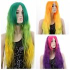 70cm Women Long Rainbow Rock Spring Bouquet Wavy CurlyHair Cosplay Full Wig+Cap