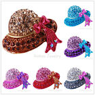Colorful Sparkle Crystone Crystal Mini Hat Brooches Pin Christmas Party Bouquet