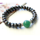 Chic Black Genuine pearls&Green Natural Jade Bracelet AU SELLER b052-4