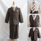 Toddler Teen Boy Dark Brown/taupe bridal graduation prom party formal suit