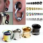 Mixed Stainless Steel Double Flared Ear Tunnel Plug Flesh Expander Piercing Kit