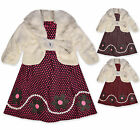 Girls Winter Dress Faux Fur Jacket Outfit Kids Party Set Age 2 3 4 5 6 Years