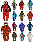 Boys Hooded Fleece Onsie Kids Jumpsuit Childrens Sleepsuit New Age 2 - 13 Years
