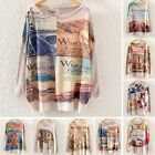 Women Batwing Sleeve Cat Owl Print Knit Pullover Jumper Casual Loose Sweater