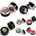 Pair Skull Flower Acrylic Screw Ear Tunnel Plugs Expander Stretcher Earlets Punk