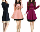 New Fashion Womens Breasted Slim Elegant Lace Long Sleeve Winter Dress OL Lady