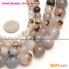 "Natural Round Gray Banded Agate Gemstone Jewelry Making Beads Strand15""Size Pick"