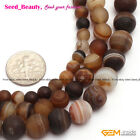 "Natural Round Frost Banded Agate Gemstone Jewelry Making BeadsStrand15""Size Pick"