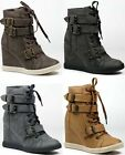 HIGH TOP ZIPPER BUCKLE FASHION ANKLE BOOT SNEAKERS NATURE BREEZE HALSTON-01
