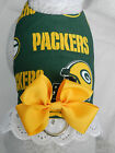 DOG CAT FERRET Harness~NFL Green Bay Team PACKERS Cheerleader YELLOW Bow & Lace