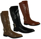 WOMENS LADIES WINTER BLACK KNEE HIGH FLEECE QUILTED BUCKLE WARM SHOE BOOT SIZE