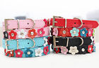 Cute Flower Studded PU Leather For Small Pet Puppy Dog Collar Small Medium Large