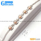 Freshwater Pearl Apple Shape Bracelet White Gold Plated Adjustable Size 6-7mm