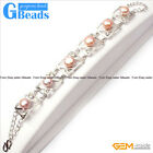 Freshwater Pearl Tennis Bracelet White Gold Plated Adjustable Size 8-9mm