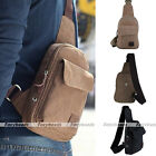 Mens Small Canvas Leather Messenger Shoulder Crossbody Travel Sport Satchel Bag