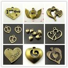 Antiqued Style Bronze Alloy Multi-type Heart Shape Charms Pendant Craft Hot Sale