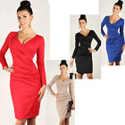 Womens Sexy V Neck Shift Stretch Bodycon Long Sleeve Sheath Party Cocktail Dress