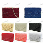 BLACK CORAL IVORY SILVER RED GOLD Satin Lace Floral Clutch Evening Bag #41074