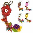 """Handmade"" Leather Flower Bag Charm Keychain Key Ring Anemone Floral fca5"