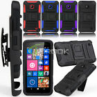 For Nokia Lumia 630 635 Hybrid Impact Armor Rugged Hard Stand Case Holster Cover