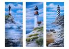 Lighthouse Set of 3 Art Prints Posters Ocean Painting Red Black White 8x20 in
