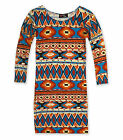 Girls Aztec Print Bodycon Dress Kids Party Dresses Brand New Age 5 - 13 Years