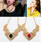 Lady's Gold Plated Crystal Hollow Out Flower Pattern Choker Bib Necklace Europe